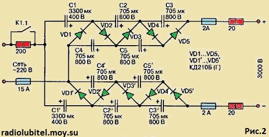 умножение напряжения сети.