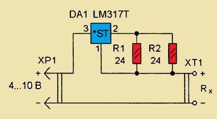 схема омметра для измерения сопротивления менее 1 ома