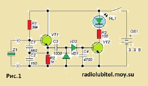 Каскад на транзисторе VT1 представляет собой ВЧ генератор по схеме.