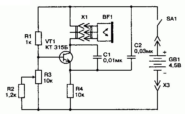 Электронная схема корректофона (лечение заикания)
