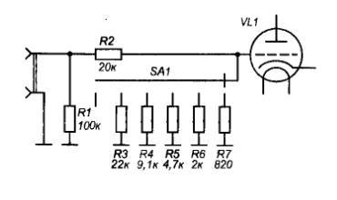 схема ступенчатого регулятора громкости