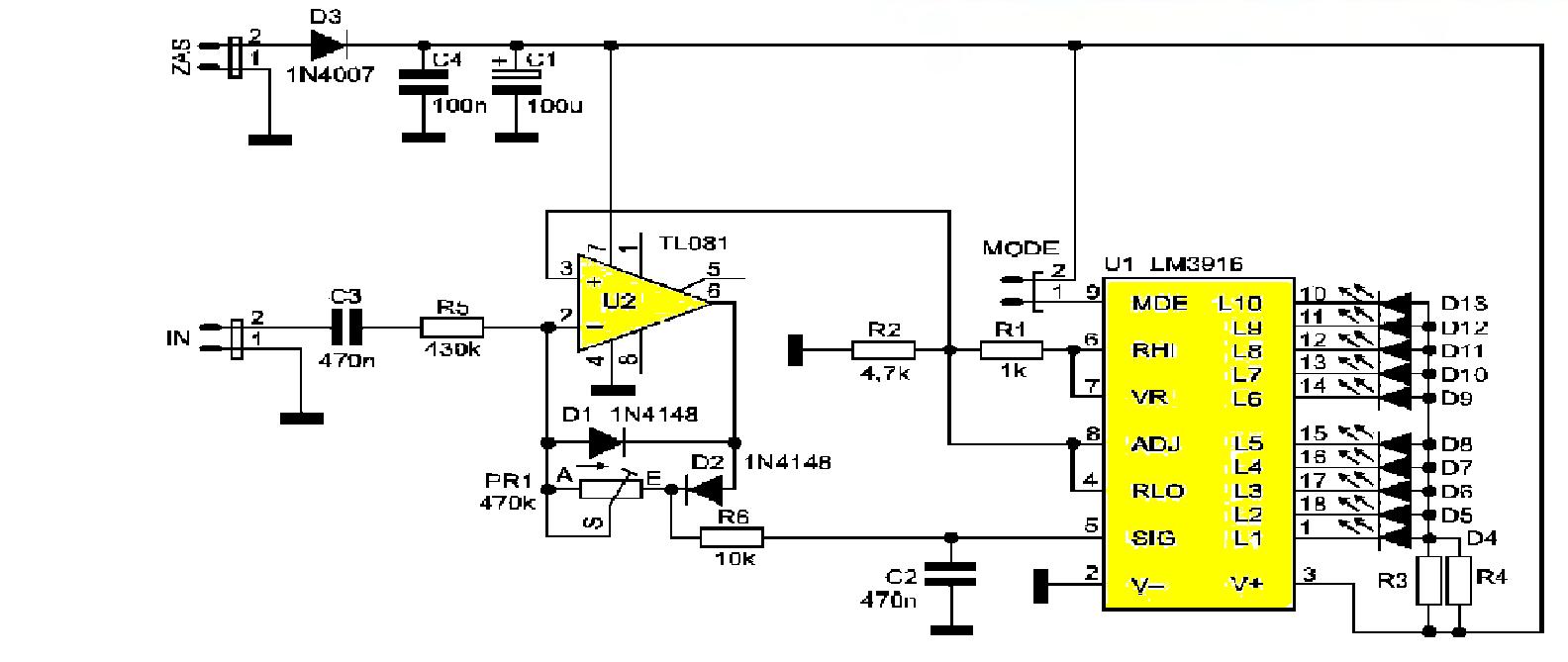 Схема индикатора уровня сигналов на светодиодах